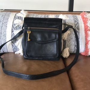 Fossil Crossbody Bag Black Pebbled Leather Purse